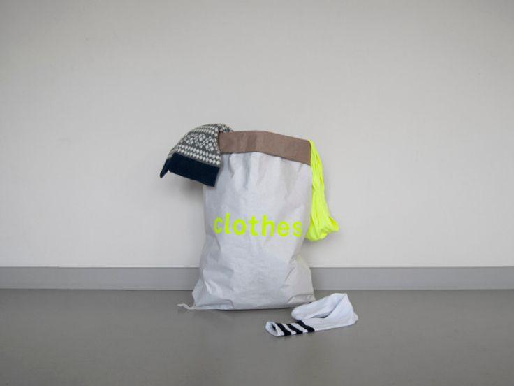 Kolor, sacs en papier pour rangements - Kraft - Paper - Jaune et blanc - sac à linge - Clothes