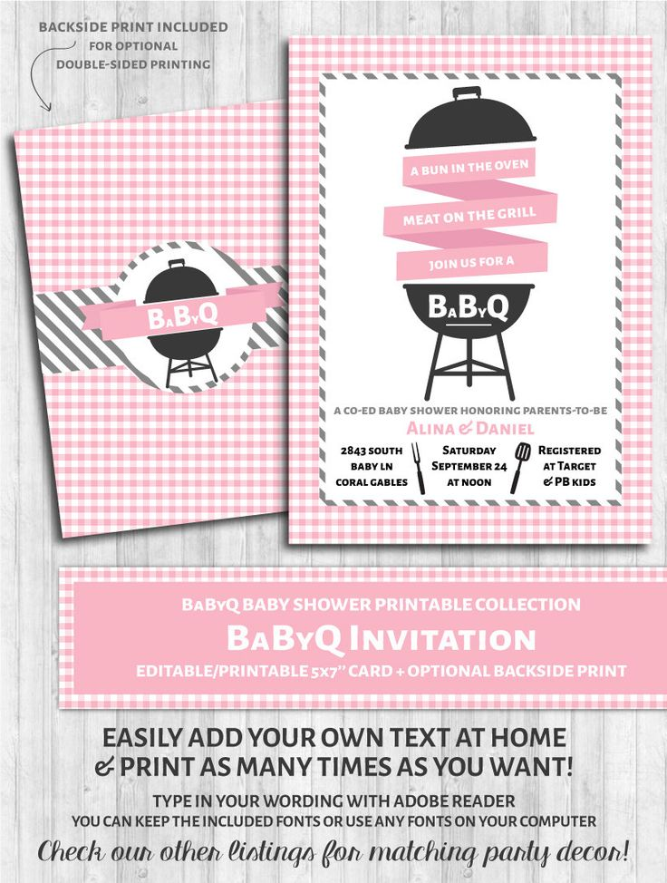 babyq invitations baby shower bbq pink u0026 gray