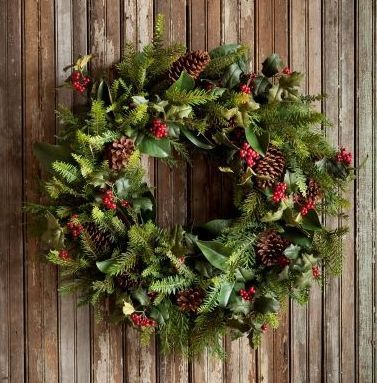 """Beautiful Gathered Evergreen Wreath! Perfect addition for the Holiday! 32""""                                                                                                                                                                                 More"""