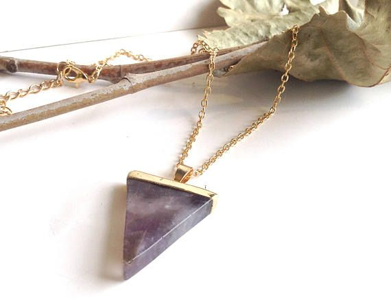 Purple Amethyst Pendant Triangle Shape Gold Alloy Chain