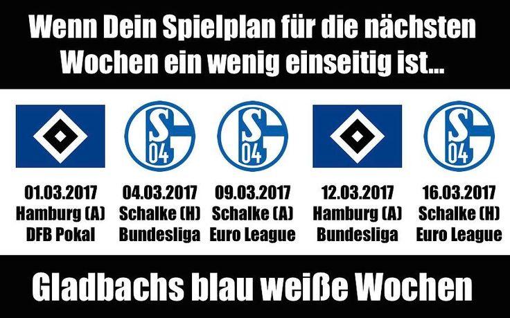 Wenn Dein Spielplan ein wenig einseitig ist...Gladbach hat die blau weißen Wochen vor der Nase  #bolzplatzhelden #hsvbmg #bmg #bmgs04 #s04bmg #bmghsv #hsv #s04