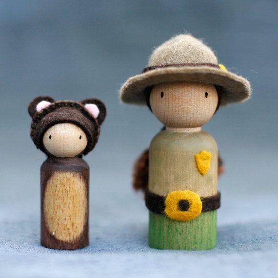 Ranger Peg Doll with Bear Cub, Waldorf Inspired