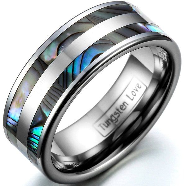 JewelryWe 8mm High Polish Tungsten Carbide Ring Men's Aniversary/engagement/wedding Band Set with Double Artificial Abalone Inlay (Size 6)