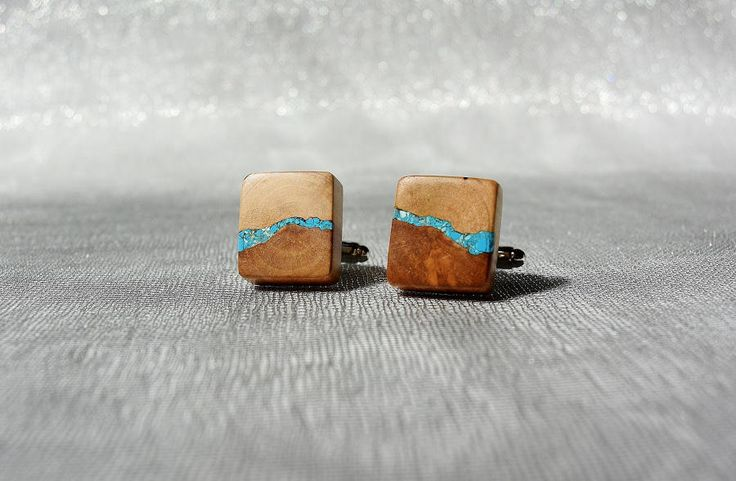 Cufflinks from apple tree inlaid with turquoise, wooden cufflinks, wooden cufflinks with turquoise inlay by Mazunii on Etsy