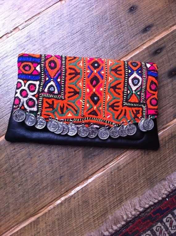 Handmade Vintage Textile Leather Banjara Clutch - Bohemian Ethnic Coin Clutch
