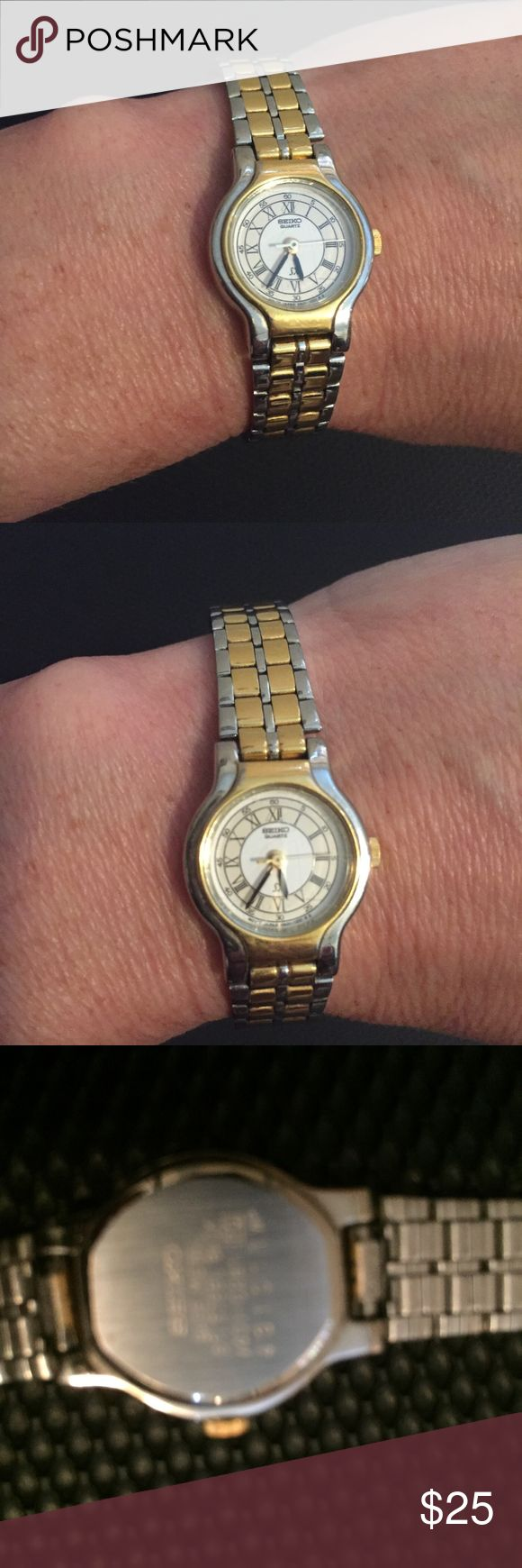 """Vintage Seiko Gold Silver Stainless Steel Watch Gold and silver tone watch Stainless steel Great condition; needs a new battery The back of the watch says: base metal; stainless steel back measures 8"""" Seiko Accessories Watches"""