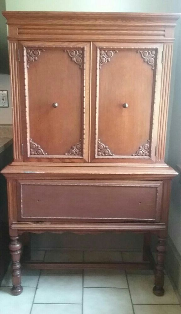 NATIONAL MT AIRY Oak China Cabinet Hutch Chest Cupboard Colonial Early American #Colonial #NationalMtAiry