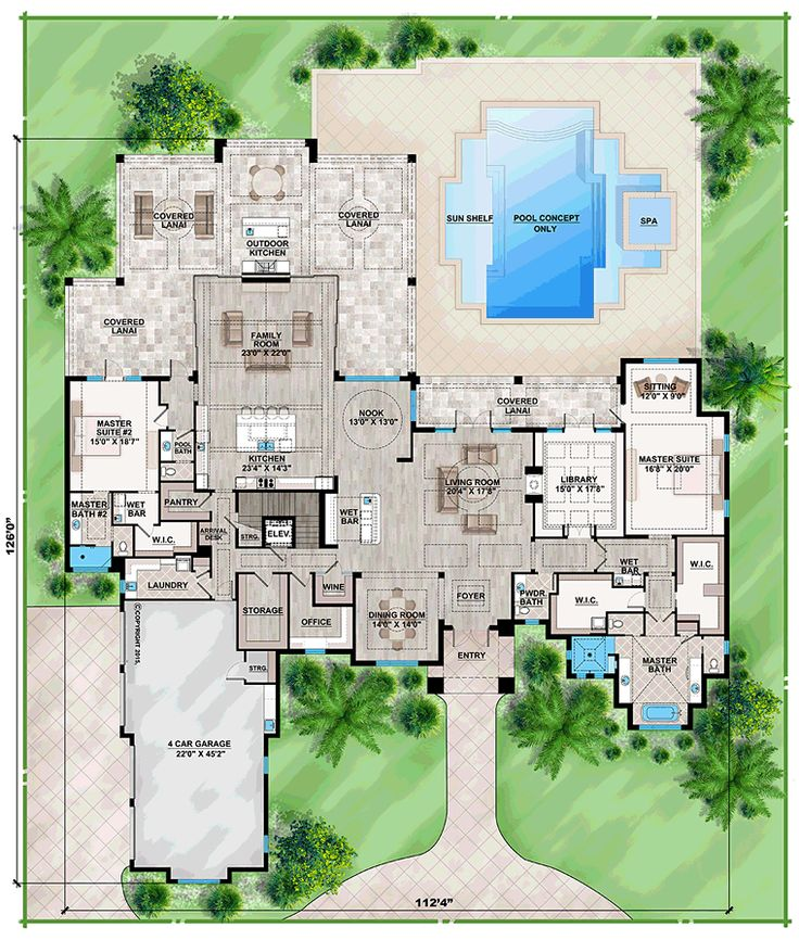 Mediterranean Home Floor Plans: Coastal Florida Mediterranean House Plan 75963