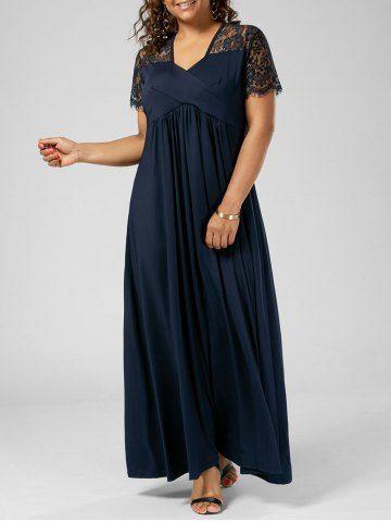 GET $50 NOW | Join RoseGal: Get YOUR $50 NOW!http://www.rosegal.com/plus-size-dresses/lace-trim-v-neck-plus-1206936.html?seid=9320315rg1206936