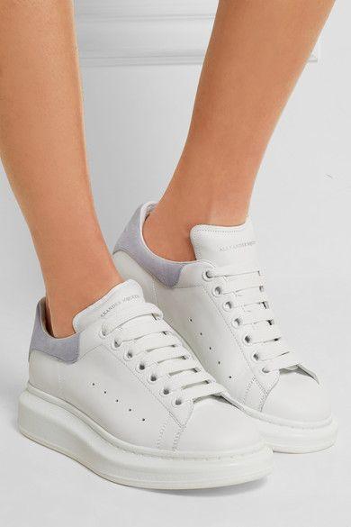 Alexander McQueen | Sneakers aus Leder und Veloursleder mit überstehender Sohle