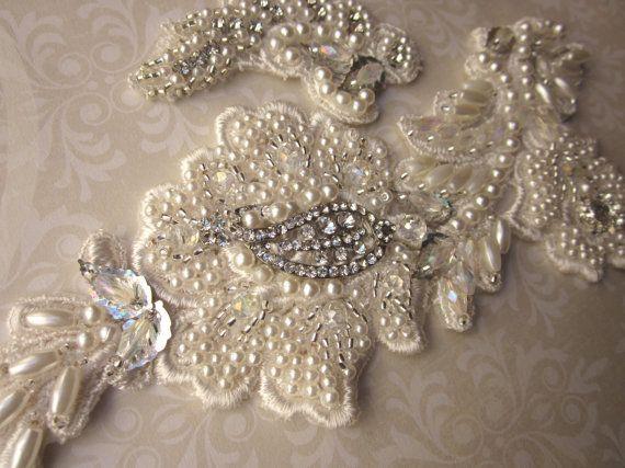 Ivory Bridal Rhinestone Applique by MagicalMysteryTuca on Etsy, $46.00