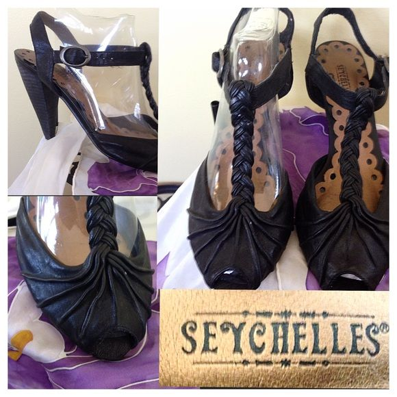 """Seychelles Back Braid Heel, So Hot Heel! Leather mint condition size 8 1/2 Seychelles are an amazing designer trend savvy Heel, ask me anything happy to bundle. Reasonable off or go and talk in my separate Posting """"Negation Station"""" ( Vintage Girls Chatting) Mint Like New Condition Seychelles Shoes Heels"""