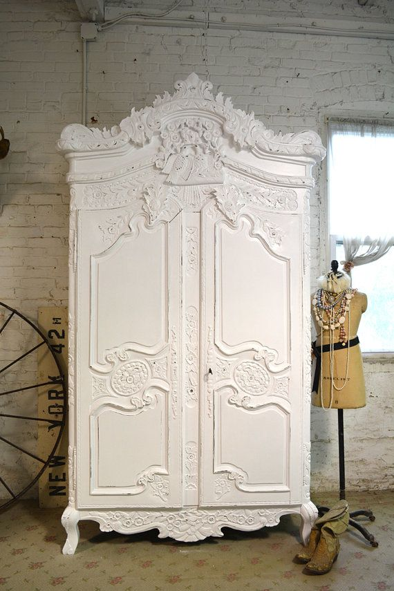 Painted Cottage Chic Shabby Romantic French Armoire AM153