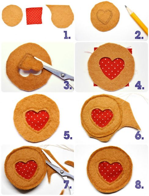 Lebensmittel aus Filz nähen Plätzchen Ausstecher Kekse Teebeutel selber machen felt Cookies sew Zimtsterne Himbeerherzchen Lebkuchen Männlei...