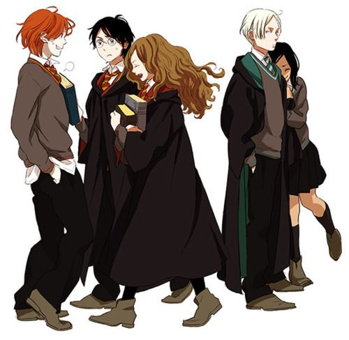 Draco Harry Hermione Ron Pansy Harry Potter