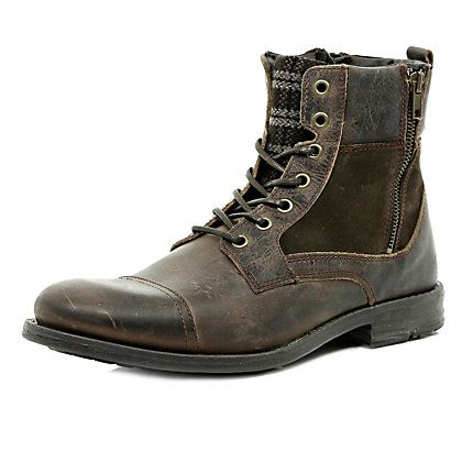 Brown plaid panel military boots $100.00