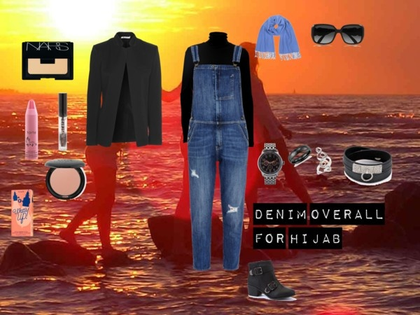 """""""Denim Overall for Hijab"""" by fabsmusician on Polyvore"""