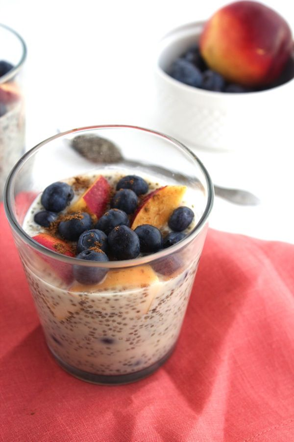 Nectarine and Blueberry Chia Pudding | Make them the night before and then breakfast is ready in the morning! #dairyfree