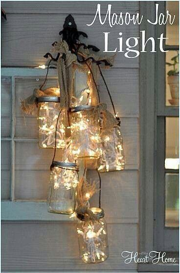 twinkle lights in mason jars