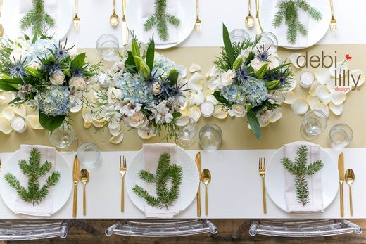 Creating an elegant dinner table, this winter, is simple! Use debi lilly design™ pedestal vases, floral arrangements and flower petals to pull your whole holiday look together!