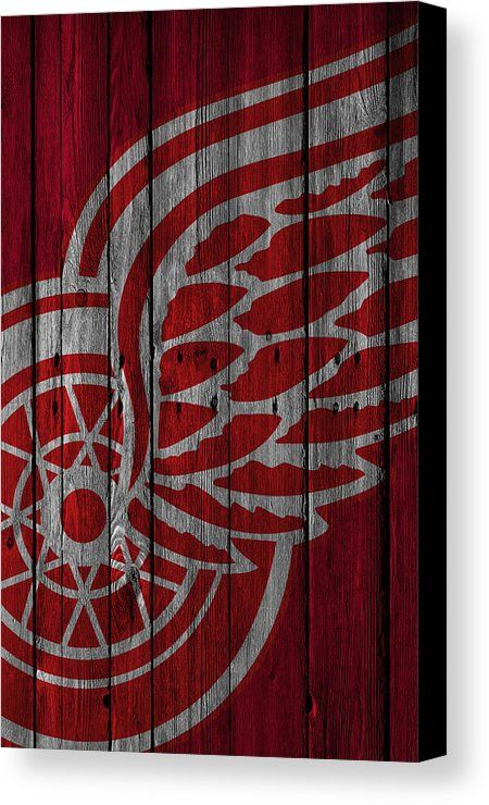 Red Wings Canvas Print featuring the painting Detroit Red Wings Wood Fence by Joe Hamilton