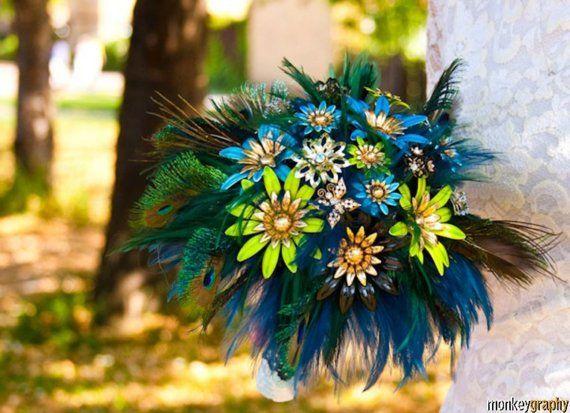 Bridal brooch bouquet PEACOCK PRIDE - wedding keepsake by hairbowswonderworld ,