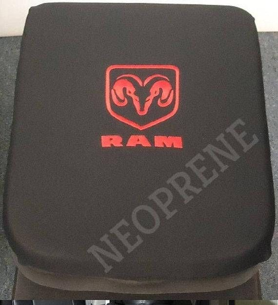 Custom Fitted Embroiered Dodge Ram Logo On Center Of Armrest 2000 2018 1500 2500 Dodge Ram Center Console Cover D Dodge Ram Dodge Ram 1500 Dodge Ram Logo