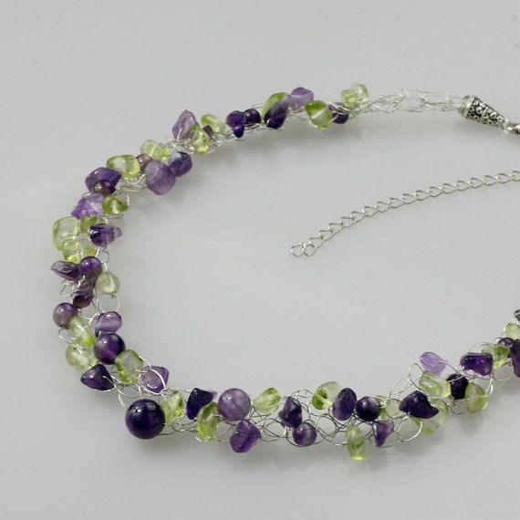 Amethyst green jade chunky crochet necklace handmade ani designs on Etsy, $22.95