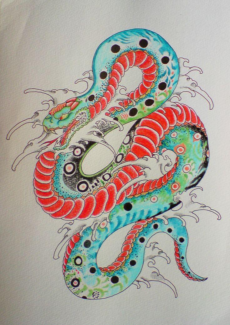 New style / old style Japanese Tattoo Flash, Snake