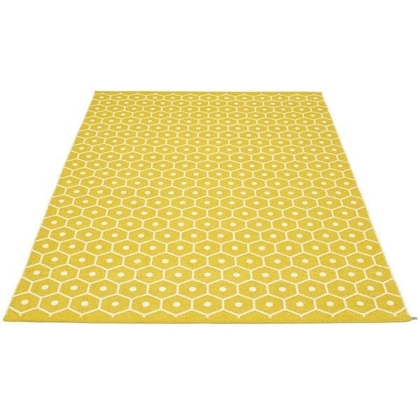 Pappelina Honey Rug (5 180 SEK) ❤ liked on Polyvore featuring home, rugs, plastic rug, machine washable area rugs, machine wash rugs, woven area rugs and plastic woven rug
