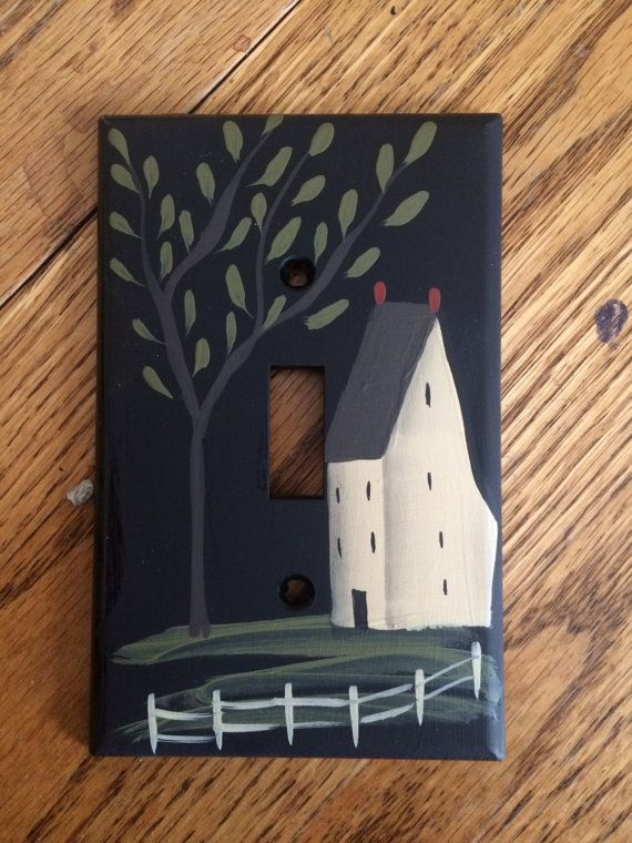 Primitive Hand Painted Black Switch Plate by HandPaintedByMara