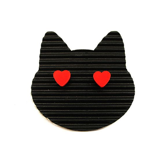 Scarlett Red heart stud earrings. Very light and funny by XOOXOO