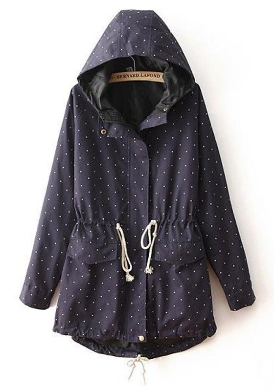 Blue Polka Dot Drawstring Pockets Trench Coat