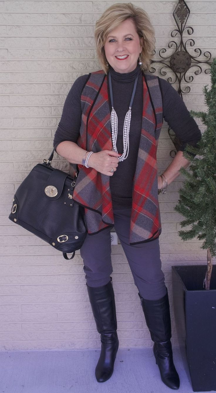 50 IS NOT OLD | HAPPY ANNIVERSARY TO ME | Plaid | Waterfall Vest | Red and Gray | Fashion over 40 for the everyday woman