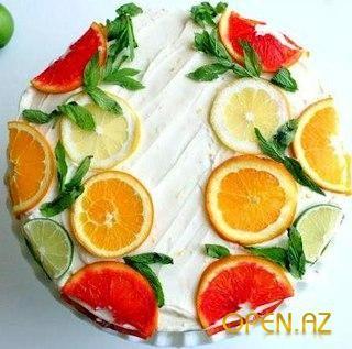 Цитрусовый торт с лимонной помадкой в лимонно-апельсиновой глазури