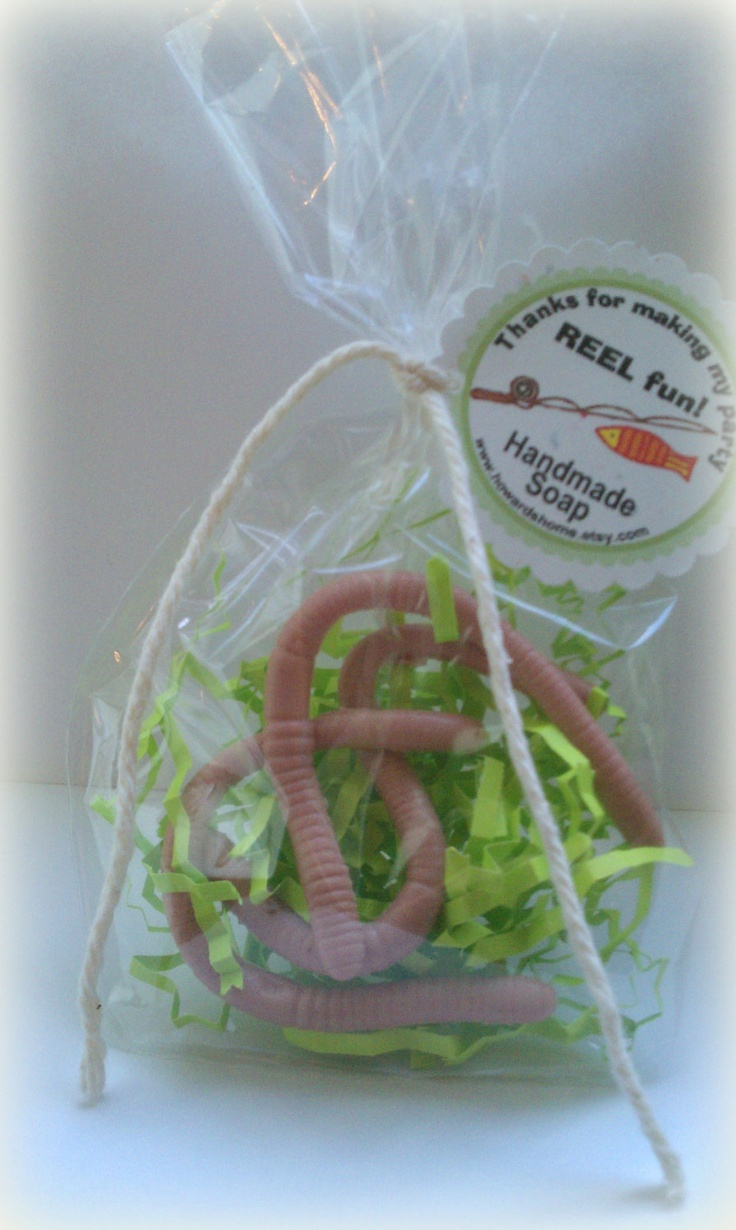 Gone Fishing Party Favors - Worm Soap  - Boy Birthday Party - Reel Fun. $30.00, via Etsy.