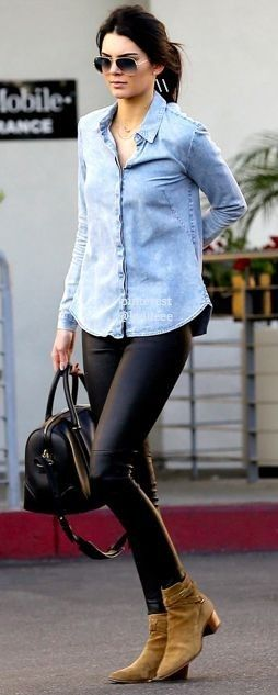 #casualoutfits #spring | Chambray + Leather | Kendal Jenner                                                                             Source