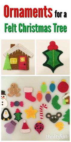 This is a guide about making felt ornaments. These ornaments are perfect for using on a felt Christmas tree.