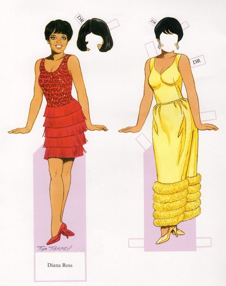 Diana Ross Motown Soul Music Legend Illustrated Paper Doll Cut-Out Print