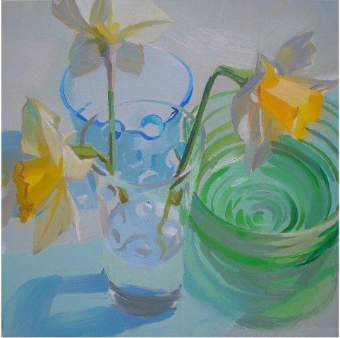 glass, still life, bright, fresh, brilliant, flowers, daffodils, contemporary/oil on linen/Karen O'Neil