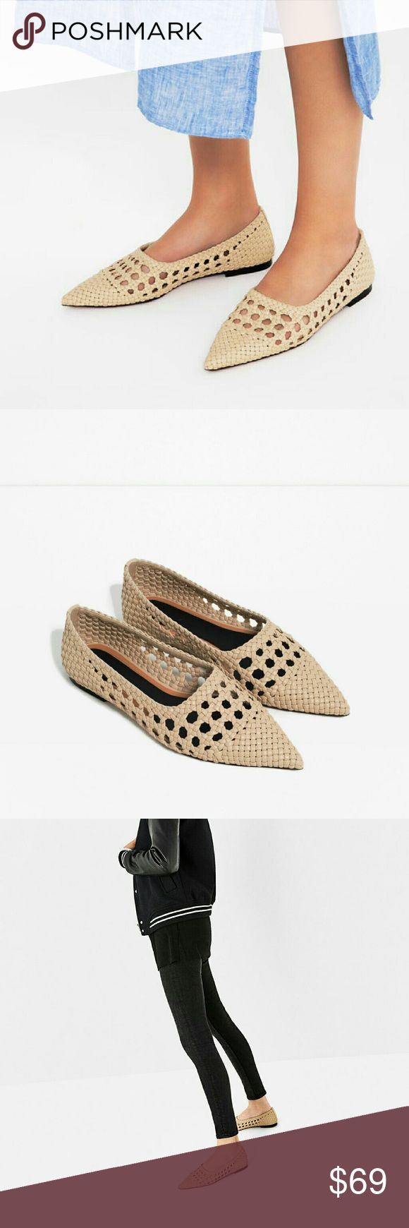 Zara shoes (7259) New with tag. EUR 39/40 US 8/9. UPPER 100% polyurethane  SOLE 100% acrylonitrile butadiene styrene  SLIPSOLE 100% polyurethane  Flat ecru shoes . Braided effect detail and pointed finish . Due to the handmade nature of the braiding and the pointed effect , the shoe's design may vary  Sole height 1 cm Zara Shoes Flats & Loafers