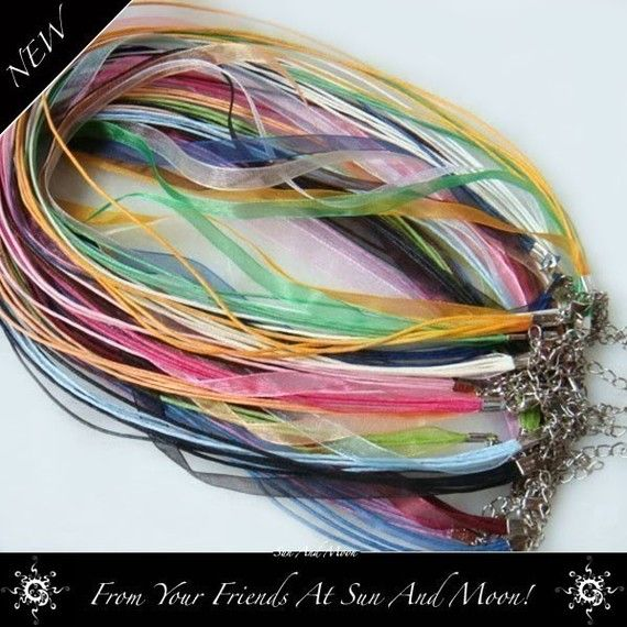 Experience all of the colors in a rainbow and more...    The Sun And Moon Organza Ribbon Necklace Rainbow Mix will surely brighten your day!