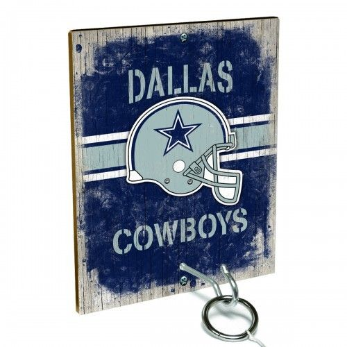 Team Toss for Dallas Cowboys fans from Team ProMark is a fun and addictive game that's easy to learn but difficult to master. Toss the ring on the eye hook and score a point. The vintage team board designs make a great addition to any fan cave or game room wall. Play individually or pair up for teams while the gang is over watching the game.