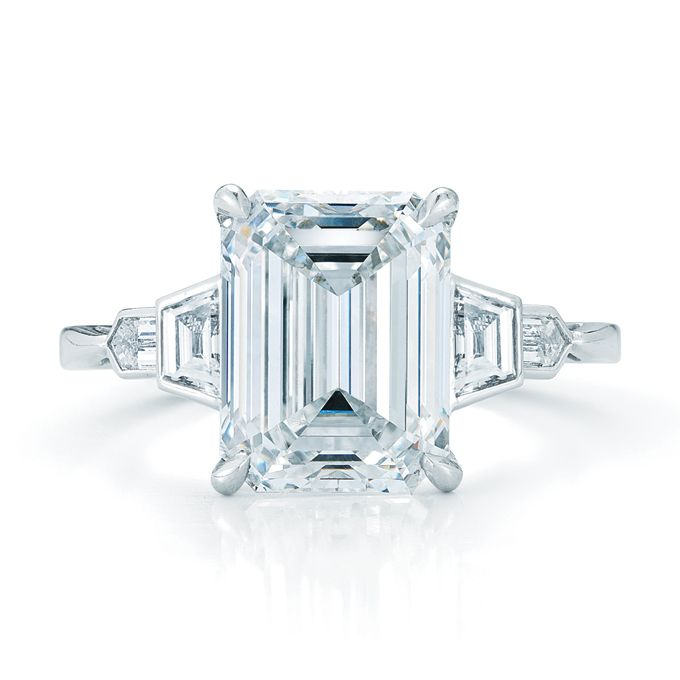 Emerald-Cut Engagement Rings 4.08 carat emerald-cut diamond with bezel set side stones in platinum...woaaahhh!!!!  See more Kwiat engagement rings.