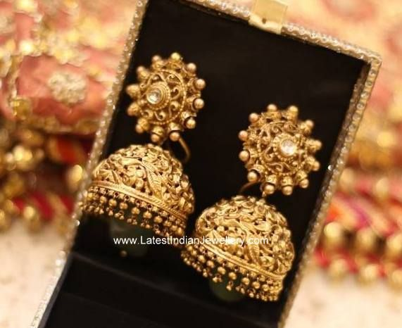 Emerald Drops Antique Jhumkis