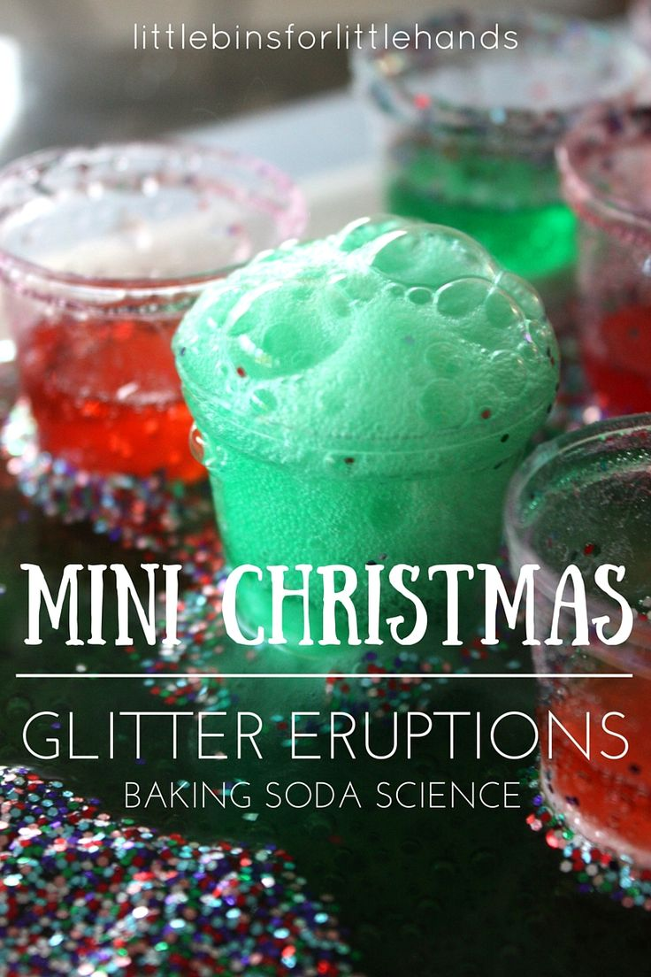 Mini Christmas baking soda eruptions and holiday science. Fun Christmas science and STEM activities for kids. Simple Christmas activities for kids.