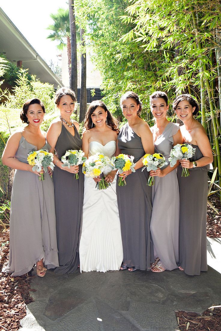 75 best glamorous gray images on pinterest marriage grey grey bridesmaids with a pop of yellow ombrellifo Image collections