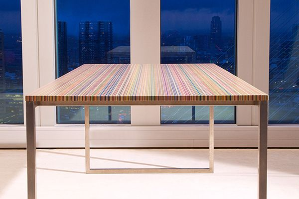 Design table cosntructed from recycled skateboards!
