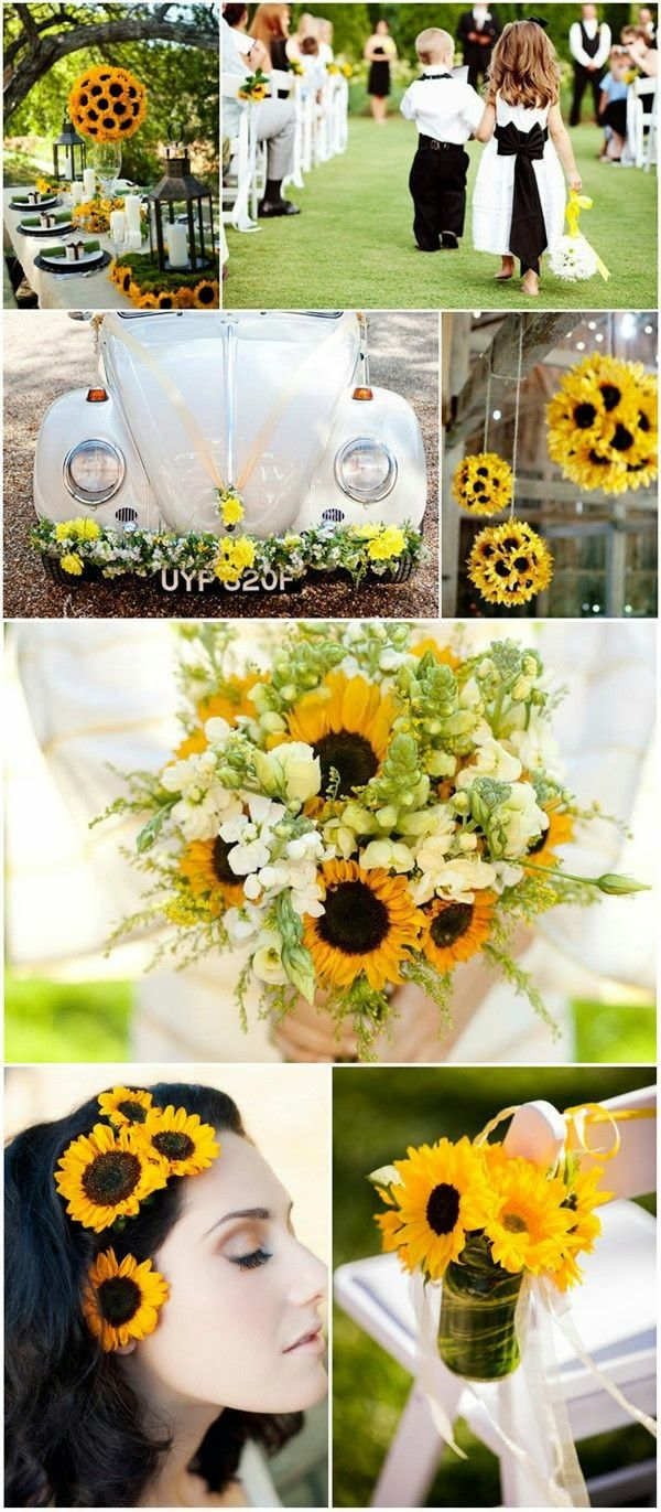 Sunflower Wedding Theme. Read more: http://memorablewedding.blogspot.com/2014/05/country-wedding-theme-3-fun-ideas-for.html
