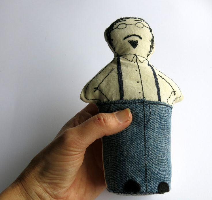 man doll - softie doll - plush doll - cloth art doll - ortrait doll -00AK art doll  fabric doll- geekery doll - fathers day gift - uk seller by itsaMessyNest on Etsy